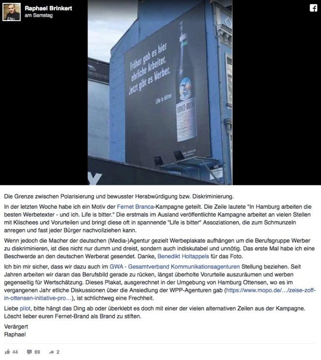 Fernet Branca Werbung mit Jung von Matt Post